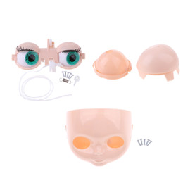 doll eyes diy UK - Doll Head Scalp Shell & 4 Colors Eyes Chips Mechanism Whole Set for Neo Blythe Takara DIY Custom Accessories