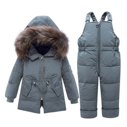 down trousers NZ - IYEAL Children Clothing Sets 2 PCS Coat + Trousers Winter Kids Clothes Down Jacket Suits Boys & Girls Real Fur Hooded Outerwear