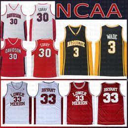 Kobe basKetball shorts online shopping - 30 Stephen NCAA Curry Davidson Wildcats College Basketball Jersey Dwyane Wade Marquette Golden Eagles Kobe Bryant Lower Merion Jerseys