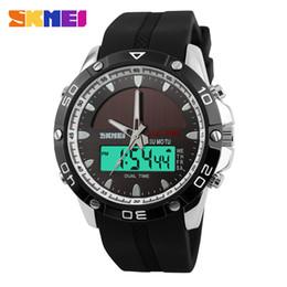 $enCountryForm.capitalKeyWord Australia - Solar watch Men's trend dual display electronic watch Outdoor sports 50m waterproof Personality wrist Luminous Double buckle strap