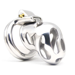 Male chastity hole online shopping - New Arrival Stainless Steel Vent Hole Design Male Chastity Device La Color A