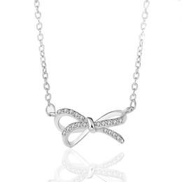 $enCountryForm.capitalKeyWord UK - Korean Niche Design Pure Silver 925 Pendant Luxury Fashion Micro-inlay Chain Stereo Bow Necklace Female