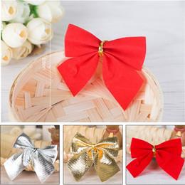 $enCountryForm.capitalKeyWord Australia - 12Pcs Set Mini Christmas Tree Ribbon Bows Charms Decoration Ornament Hanging Bowknot Red Gold Silver C42