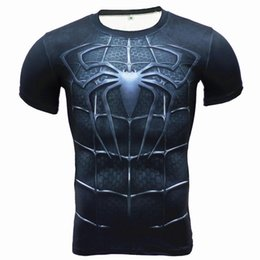 Wholesale superman shirts for sale – custom 3D digital printing Superman short sleeve T shirt American captain sports tights men s quick drying fitness