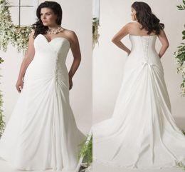 $enCountryForm.capitalKeyWord Australia - Plus Size Beach Chiffon Wedding Dresses with Beaded Crystal Sweetheart Lace-up Back Pleated Garden Bridal Informal Wedding Gown