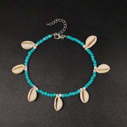 $enCountryForm.capitalKeyWord Australia - Bohemian Shell Ankle Bracelets for Women Fashion Handmade Braid Rice Beads Anklets Beach Foot Jewelry Wholesale