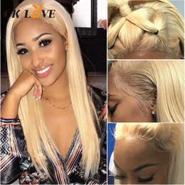 Silky Straight Blonde Wig Australia - OKLove Silky Straight #613 Blonde Full Lace Human Hair Wigs Brazilian Remy Hair Wigs With Baby Hair Pre-Plucked Hairline 180 Density