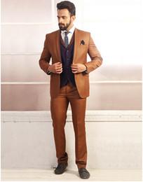 Brown Skinny Suit Australia - 2019 Latest Jacket Pants Designs Brand new Groom men Brown Tuxedo Mens Suit Wedding suits for men Wear Blazer(Jacket+Pants+Vest)