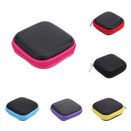 Bluetooth Toys Australia - 75 X 75 X 30 mm Mini Square PU + EVA Earphones Package Box Headset Bluetooth Data Line Usb SD Card Cable Storage Case Bag
