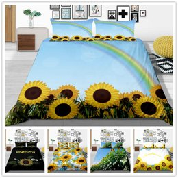 black flower comforter Australia - Luxury Comforter Bedding Set Duvet Cover with Sheet Pillow Single Double King Size with Sun Flowers Comfortable of Bedding Supplies