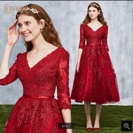 $enCountryForm.capitalKeyWord Australia - 2019 gorgeous cheap short a line red lace prom dress tea length 3 4 sleeve modest corset lace up with sashes prom gowns best selling