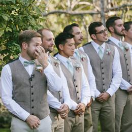 45cee104aa Gray Wool Groom Vests For 2019 Farm Wedding Party Attire Groomsmen Team  Vest Slim Fit Men s Dress Suit Prom Garden Waistcoat Dress