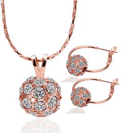 $enCountryForm.capitalKeyWord Australia - Hot Sale 18K Rose Gold Plated Fashion Women Jewelry Sets Genuine Austrian Crystal 10MM Diso Ball Bead Pendant Necklaces Hoop Earrings