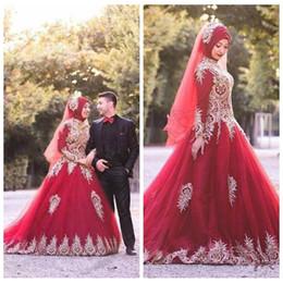 Hijab Red Long Dress Australia - Muslim Hijab Gold Appliques Red Wedding Dresses High Neck Sequins Long Sleeve Fashion Bridal Dresses Custom Made Luxurious Wedding Gowns