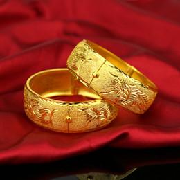 Yellow Gold 18k Bangle Australia - 1pcs Womens Wedding Bridal Bangle 18K Yellow Gold Filled Bracelet Dubai Bangle Jewelry Africa Arab Super Thick Bangles Jewelry