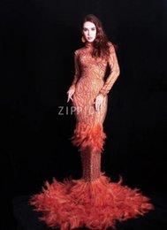 $enCountryForm.capitalKeyWord Australia - New Red Rhinestones Feather Dress Birthday Celebrate Women Dress Prom Evening Stage Singer Dancer Long Train