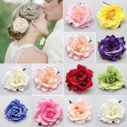 Roses For Hair Australia - New DIY Headdress Hair Accessories For Bridal Wedding Flocking Cloth Red Rose Flower Hairpin Hair Clip