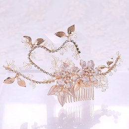 $enCountryForm.capitalKeyWord UK - Romantic Rhinestone Pearls Petals Bridal Hair Comb Floral Beads Tiaras Headpiece Women Wedding Hair Jewelry Accessories VL