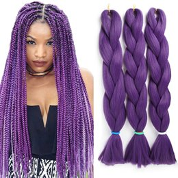 jumbo box braiding hair Australia - Synthetic Braiding Crochet Hair Extensions Solid Color X-pression Braiding Hair Crochet Box Braids Jumbo Braids Cheap Hair for Wholesale