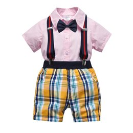 a7c7b626 spring summer kid baby boys formal clothes set cotton outfits top+plaid  shorts+shorts 4pcs gentleman suit for party wedding