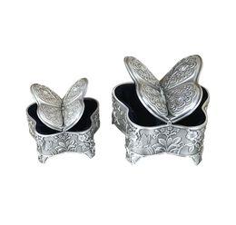 $enCountryForm.capitalKeyWord UK - Elegant Butterfly Shaped Jewelry Storage Box Antique Metal Trinket Box with Rose Engraving Vintage Keepsake Gifts for Women Girls