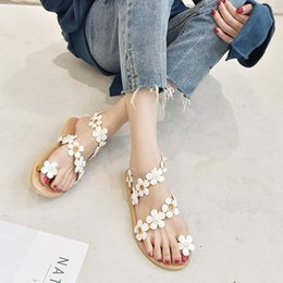girls t back thongs UK - round head shoes girl sandals thong woman release fashion buckle house white flower slippers summer loafers 2020