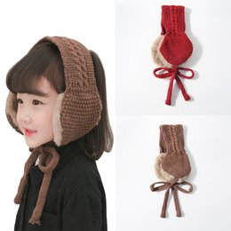 woman earmuffs Australia - Winter Knitting Wool Headband for Kids Warm Earmuffs Scarf Christmas Gift Ornaments Children Adjustable Hairband Hair Accessories