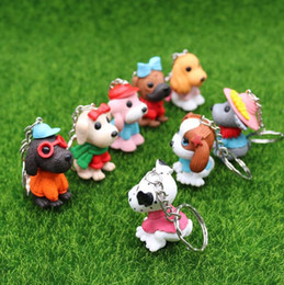 $enCountryForm.capitalKeyWord Australia - Lovely Resin Scarf Mini Dog Key Chain Bag Car KeyChain Doge Keyring Animal Pendant Figure Keyring Birthday Gift Mix 24pcs lot