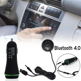 Discount nfc charger - Bluetooth 4.0 Hands Free Car Kit With NFC Function +3.5mm AUX Receiver Music Aux Speakerphone 2.1A USB Car Charger