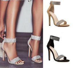 $enCountryForm.capitalKeyWord Canada - Women's shoes sandals 2019 new fish mouth shiny rhinestone word with high heels tide