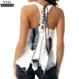 Tunic Tops Australia - Plus Size 5xl Summer Tank Tops For 2018 Streetwear Feather Print Back Lace Up Sleeveless Top Tunic T Shirt Clothes Women C19040301