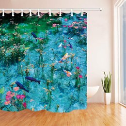 $enCountryForm.capitalKeyWord Australia - Various of Fish On Pond Lake with Beautiful Grass Flower Design Nature Garden Shower Curtain for Bathroom
