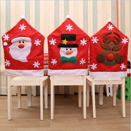 christmas santa chair Canada - Christmas Snowflake Chair Set Santa Claus Snowman Elk Chair Set Christmas Table Home Decor Hat