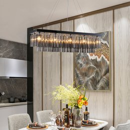 designed kitchens NZ - New design modern rectangle L 100cm W 30cm smoky crystal chandelier light led gold pendant lamps for kitchen island dining room bedroom