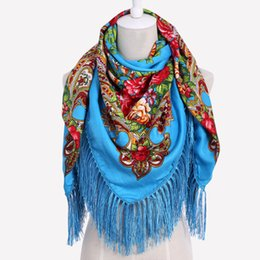 0fe1b884c77e0 HOT Sale Russian Brand New Fashion Big Size Square Scarf Cotton Long Tassel  Print Scarf in Spring Winter Shawl For Women floural