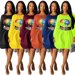 $enCountryForm.capitalKeyWord Australia - Women lip print dresses solid casual mini skirt designer summer clothing crew neck long sleeve t shirt dress plus size free shipping 1044