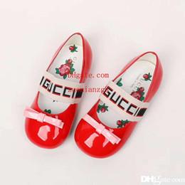 Discount heeled sandals for girls - Girl shoe fashion G letter deigner princess pink athletic shoes for girl child girl black sandals EU 26-35 SEND WITH BOX