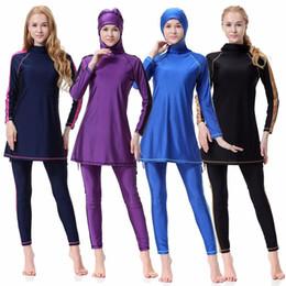 230a949a3a New Muslim Swimwear Plus Size Two-piece Long Sleeve Swim Wear Conservative  Women Islamic Muslim Swimsuit Full Cover
