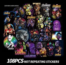 nursery room wall stickers 2019 - 108pcs set Avengers 4 Superhero Graffiti Sticker Personality Luggage DIY stickers cartoon Thanos PVC Wall bag kids toys