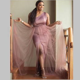 Wedding dress cheap online shopping - Dusty Pink One Shoulder Mermaid Bridesmaid Dresses Long High Side Split Wedding Guest Gown Cheap Satin And Tulle Maid Of Honor Dress