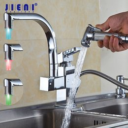 Pull Out Handle Australia - LED Deck Mounted Pull Out Kitchen Faucet Chrome Finish Mixer Tap Single Handle Dual Sprayer Mixer ORB Polish Chrome Nickel Brush