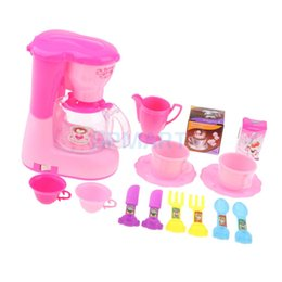plastic furniture toy set NZ - Mini Furniture Music Coffee Machine Tableware Set for MellChan Baby Doll 9-11inch Reborn Doll Furniture Kids Pretend Play Toys