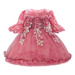 $enCountryForm.capitalKeyWord UK - Girl First Birthday Floral Tutu Long-sleeves Flower Ball Gown Dresses For Girls Toddler Baby Girls Newborn Vesitdos 0-6-12-24 M Y19050801
