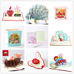 shipping thank card Australia - H&D Handmade Laser Cut 3D Up Mother's Day Postcards Love Mom Gifts Thank you Greeting Cards Festival Flowers Drop Shipping