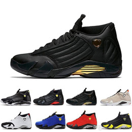 suede basketball shoes NZ - Shoes 14s mens Basketball 14 Desert Sand DMP Last Shot Indiglo Thunder Red Suede Oxidized Candy Cane men Sports Sneakers trainers designer