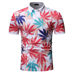 $enCountryForm.capitalKeyWord Australia - High Quality Flora Colorful Leave Print Polo Shirt Men Summer Slim Fit Short Sleeve Polo Shirts Classic Polos Clothing 1801-T540
