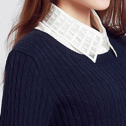 Discount false clothing - Women Shirt Long Sleeve Long Sleeve Shirt Women Plaid New Blouse False Collar Clothes Detachable Collars