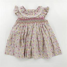$enCountryForm.capitalKeyWord NZ - Euro Exquisite Vintag girls Clothes dress Short Sleeve Pet Pan Collar Full Flower Design Dress 100% Cotton Summer girl Clothing Dress