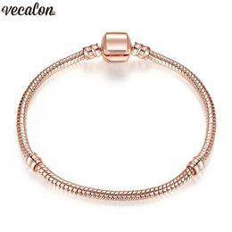 23cm Silver Bracelets Australia - Handmade Bracelet Fit Bead 925 Silver Rose Gold Filled Snake Chain Bangle & Bracelet Luxury Party Jewelry 16-23CM Women Gift