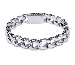 $enCountryForm.capitalKeyWord NZ - High Quality Heavy Mens Women Bracelet 316L Stainless Steel Silver Wristband Metal Cuban Link Chain Hip Hop Bracelets Jewelry G823R F